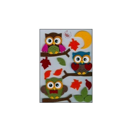 Felt 3D stickers owl design (17)