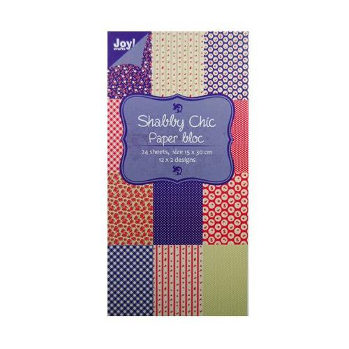 Paper bloc, 15x30cm - Shabby Chic (blauw)