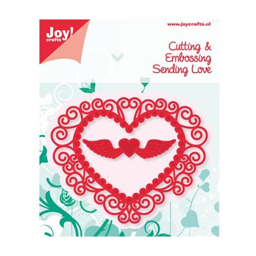 Cutting & Embossing - Hart + hart met vleugels