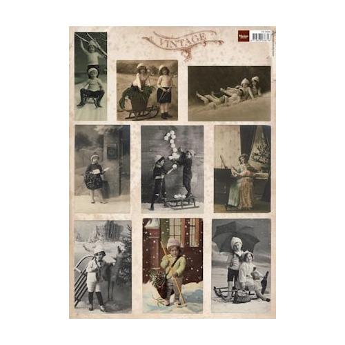 A4 knipvel Vintage christmas cards 2