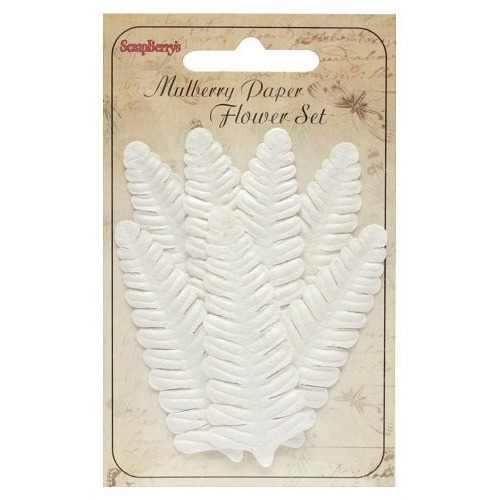 ScrapBerry's Set Of Leaflets 7 pcs Fern White
