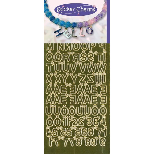Sticker Charms - ABC-123 Mirror Gold