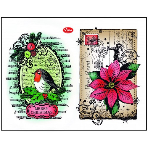 Viva Decor Silicone Stamps - Robin & Poinsetta
