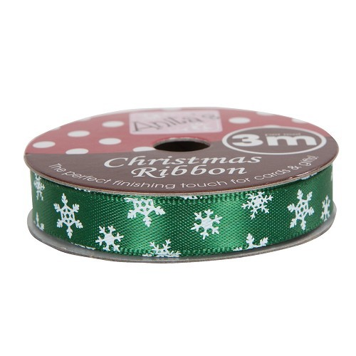 Christmas Ribbon (3m) - Snowflake - Green