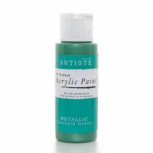 2OZ ACRYLIC PAINT - Metallic Emerald Green