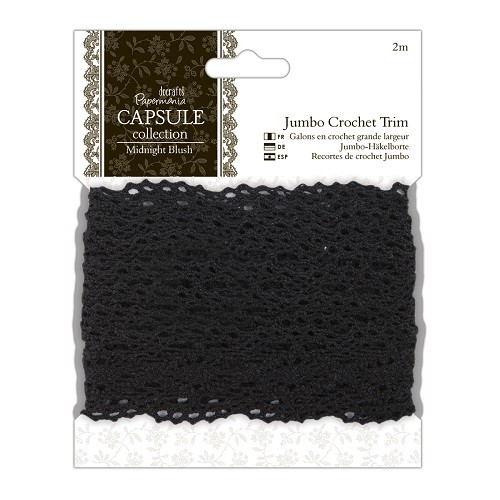 2m Jumbo Crochet Trim - Capsule Collection - Midnight Blush