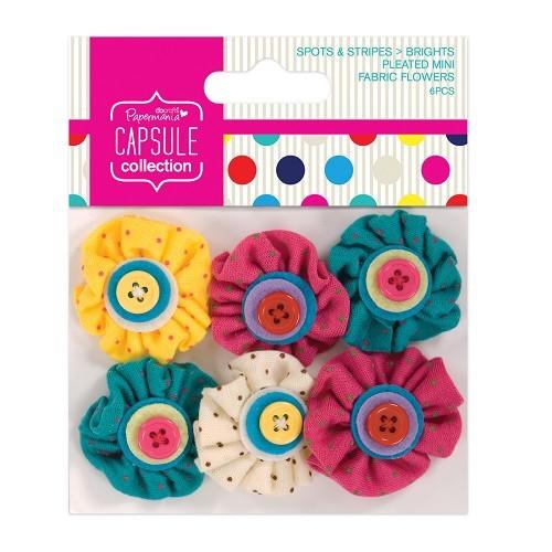 Pleated Mini Fabric Flowers (6pcs) - Capsule - Spots & Stripes B