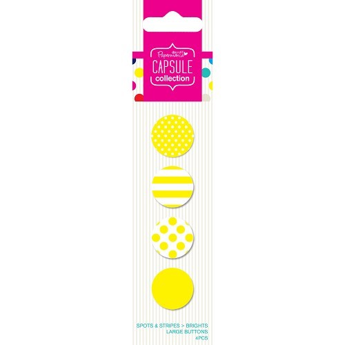Large Buttons (4pcs) - Capsule - Spots & Stripes Brights - Yello