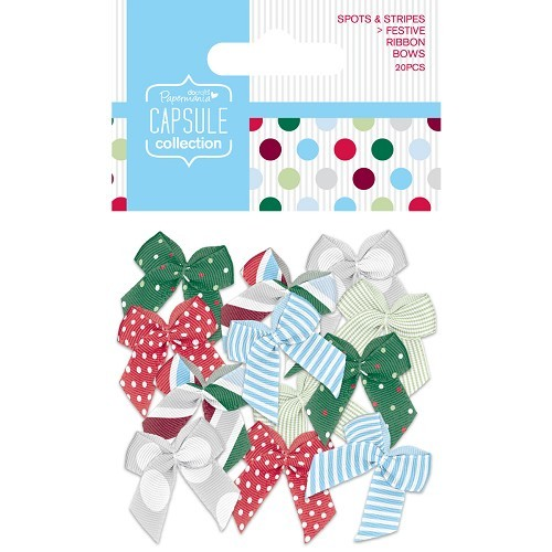 Ribbon Bows (20pcs) - Capsule - Spots & Stripes Festive