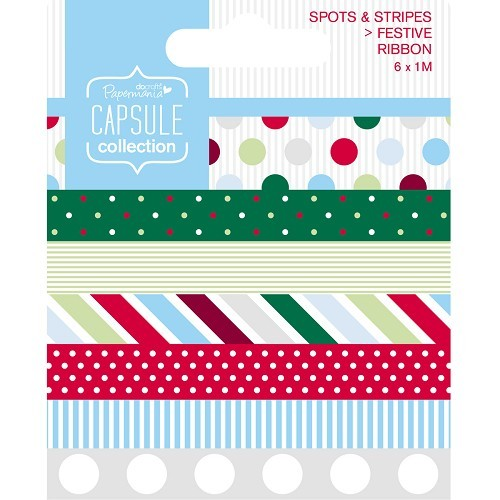 1m Ribbon (6pcs) - Capsule - Spots & Stripes Festive