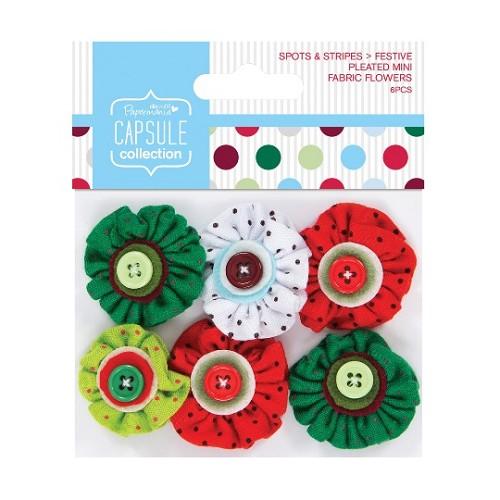Pleated Mini Fabric Flowers (6pcs) - Capsule - Spots & Stripes F