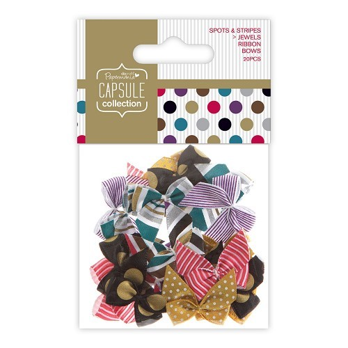 Ribbon Bows (20pcs) - Capsule - Spots & Stripes Jewels