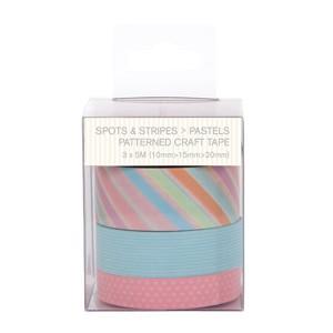 Patterned Craft Tape (3pcs) - Spots & Stripes Pastels