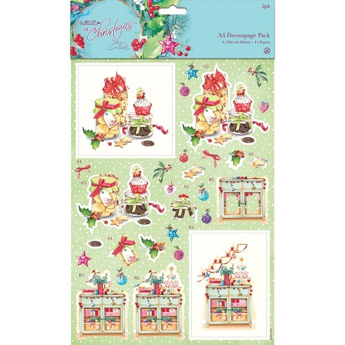 A4 Decoupage Pack - At Christmas Lucy Cromwell - Festive Treats