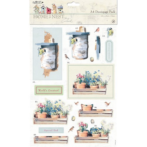 A4 Decoupage Pack - Home To Nest Lucy Cromwell - Home Sweet Home