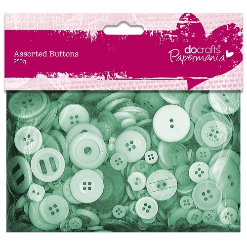Assorted Buttons (250g) - Green