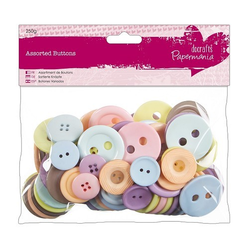 Assorted Buttons (250g) - Pastels