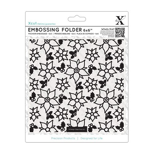 6 x 6 Embossing Folder - Poinsettia Pattern