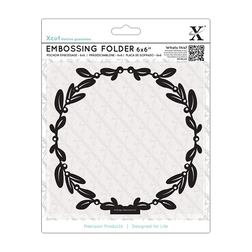 6 x 6 Embossing Folder - Mistletoe Frame