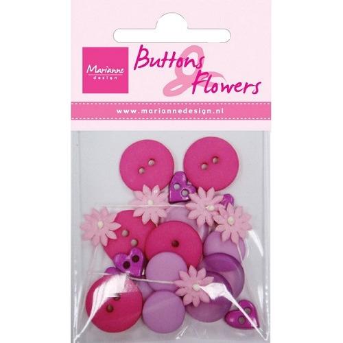 Buttons en flowers lilac