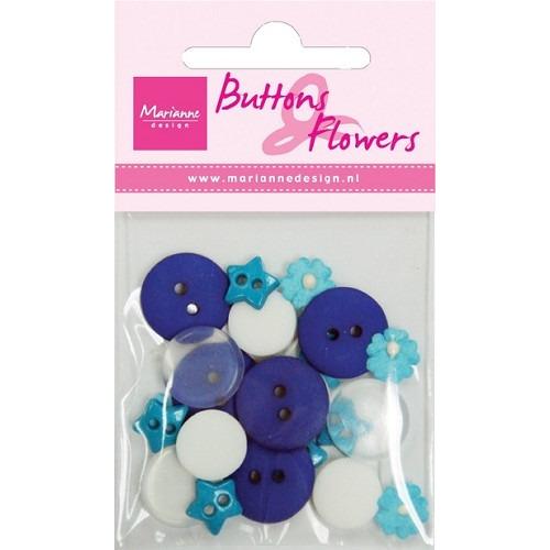 Buttons en flowers blue