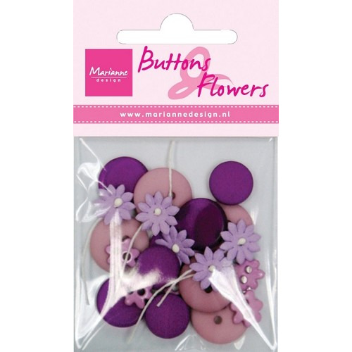 Buttons en flowers purple