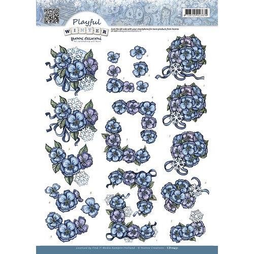 3D Knipvel - Yvonne Creations - Playful Winter - Snowflowers