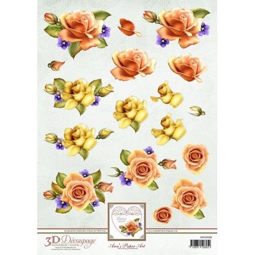 3D Knipvel - Ann Paper Art - Orange Roses