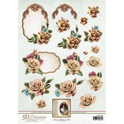 3D Knipvel - Ann Paper Art - Champagne Rose