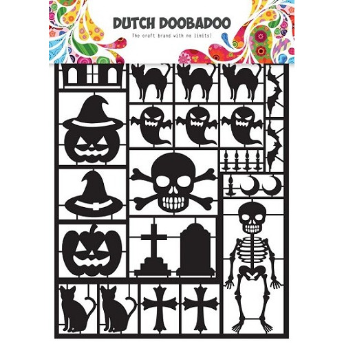 Dutch Doobadoo - Laserfiguren A5 - wit - halloween