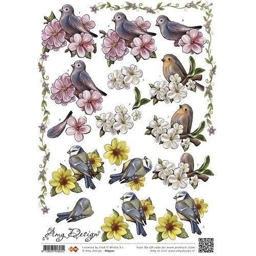 Amy design - card deco 3d knipvel vogels en bloemen