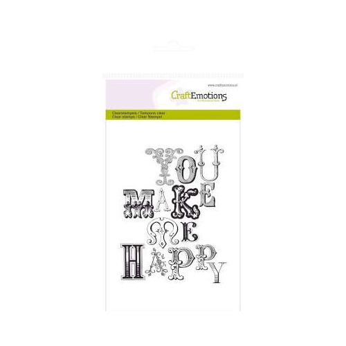 CraftEmotions clearstamps A6 - achtergrond you make me happy