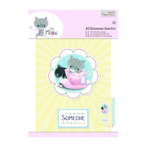 A5 Decoupage Card Kit - Little Meow