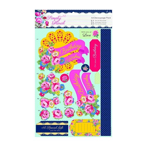 A4 Decoupage Pack - Simply Floral - Bright Blooms