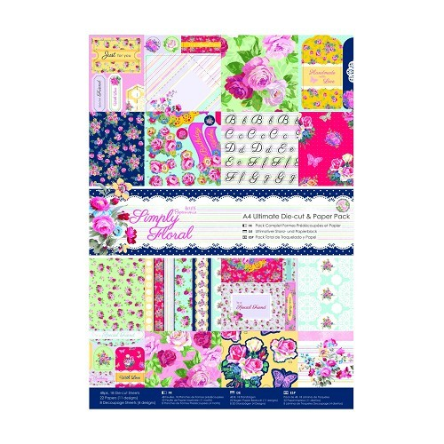 A4 Ultimate Die-cut & Paper Pack (48pk) - Simply Floral