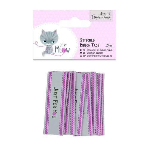 Stitched Ribbon Tags (10pcs) - Little Meow