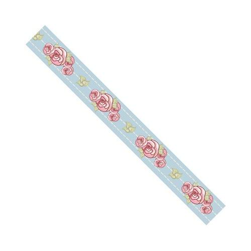 Rosa Dotje Lint 3m 20 mm. Polyester blauw met bloemen