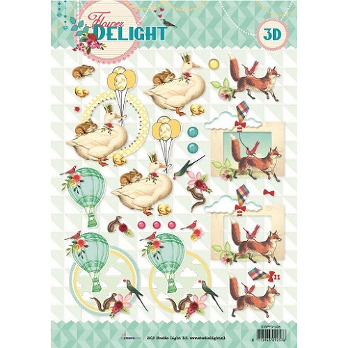 Studio Light Knipvellen  A4 Flower Delight nr 1338 STAPFD1338
