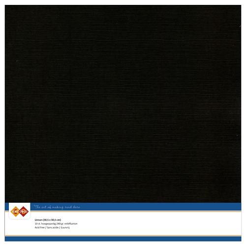 Linnenkarton - 30.5 x 30.5 - Zwart