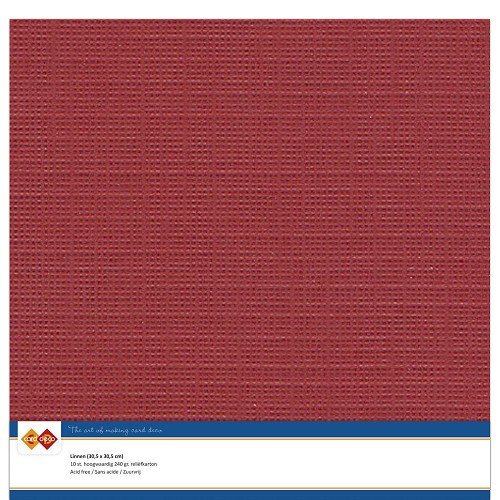 Linnenkarton - 30.5 x 30.5 - Kerst rood