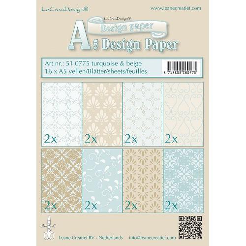 Design papier assortiment  turquoise/beige 16xA5