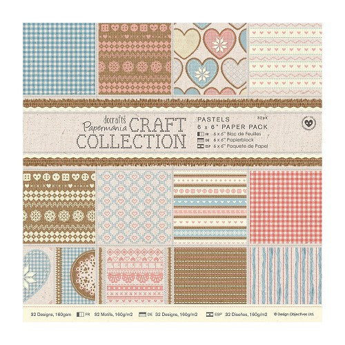 6 x 6 Paper Pack (32pk) - Craft Collection - Pastels