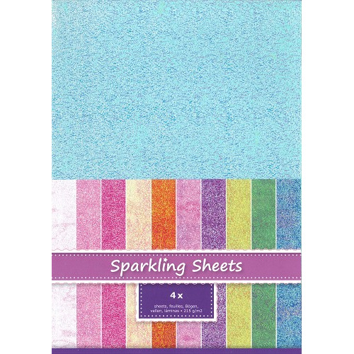 Sparkling Sheets Light Sky, 4 sheets A4