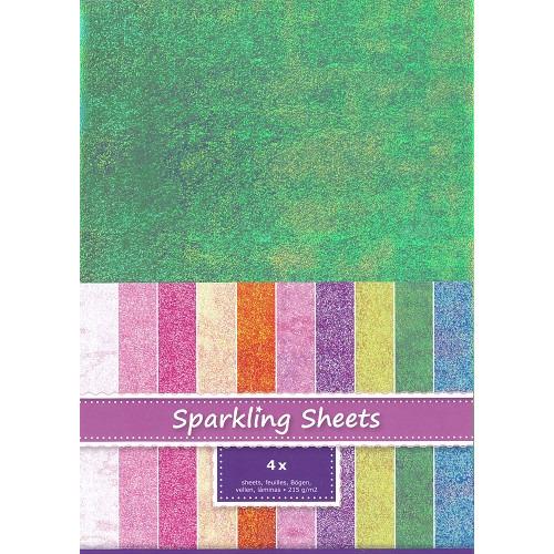 Sparkling Sheets Green, 4 sheets A4
