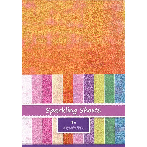 Sparkling Sheets Tangerine, 4 sheets A4