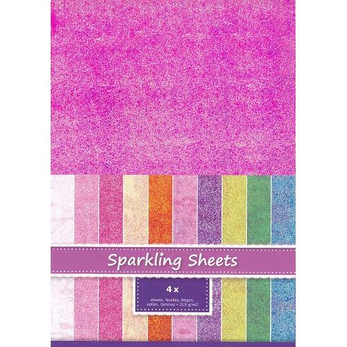 Sparkling Sheets Fuchsia, 4 sheets A4