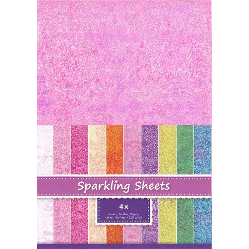 Sparkling Sheets Pink, 4 sheets A4