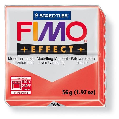 Fimo effect boetseerklei 56 g transparant rood