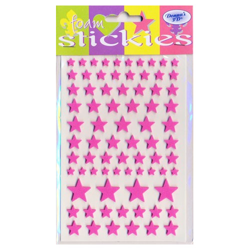 Foam Stickies - sterretjes roze