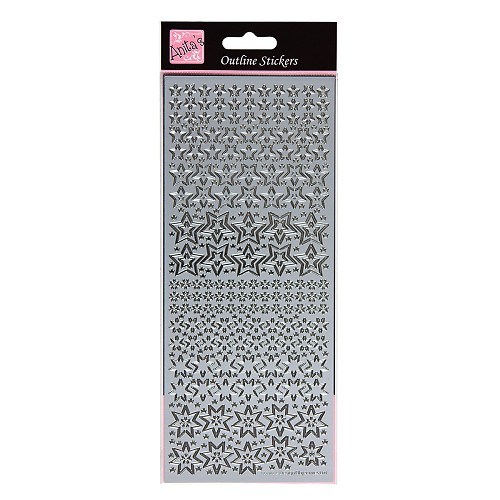 Outline Sticker - Sparkling Stars (Silver)